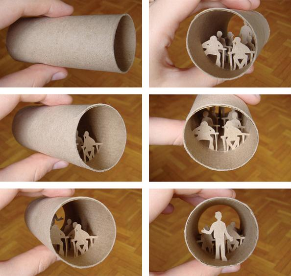 13 art inside a toilet paper roll Beautiful Miniature Paper Art Scenes [30 pics]