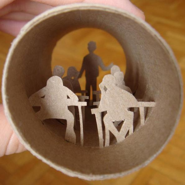 14 art inside a cardboard roll Beautiful Miniature Paper Art Scenes [30 pics]