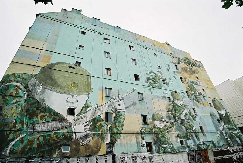 blu huge army soldiers puppets mural street art Picture of the Day   August 29, 2010