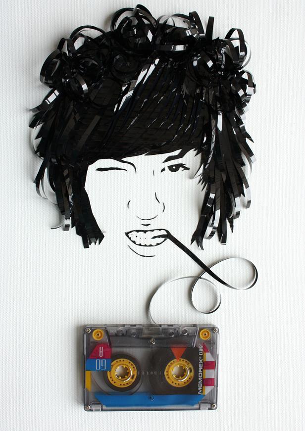 cassette tape art erika iris simmons Unbelievable Tape Art by Erika Iris Simmons [15 Pics]