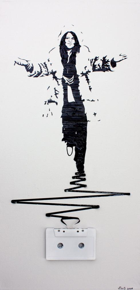 janis joplin tape art iri5 Unbelievable Tape Art by Erika Iris Simmons [15 Pics]