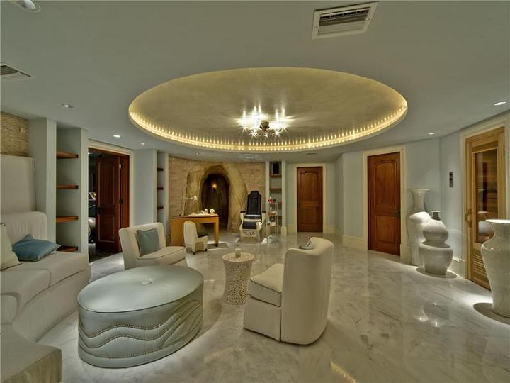 living room in cayman The $60 Million Mansion on the Ocean: Castillo Caribe, Cayman Islands