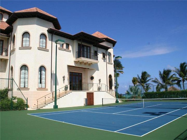 private tennis court The $60 Million Mansion on the Ocean: Castillo Caribe, Cayman Islands
