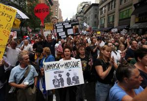 protesters in new york city ground zero mosque islamic centre protesters in new york city ground zero mosque islamic centre