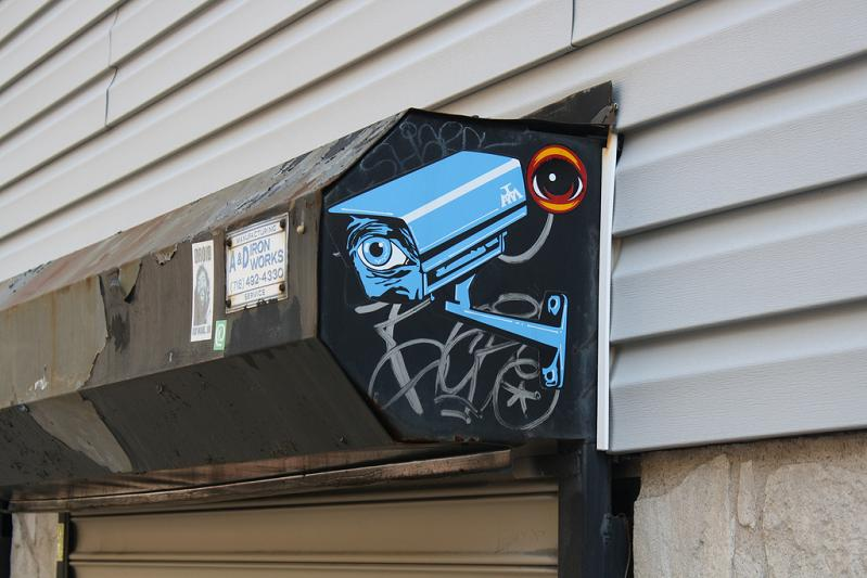 security camera with eye street art STREET ART: Eye Heart NYC by Peat Wollaeger [21 pics]