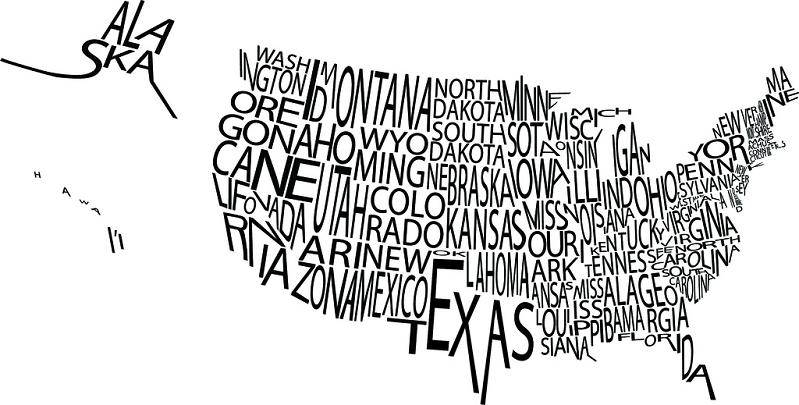 typographic map of usa in letters Picture of the Day   September 11, 2010