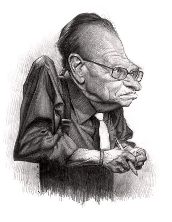 22 larry king caricature jason seiler 25 Incredible Drawings by Master Caricaturist Jason Seiler