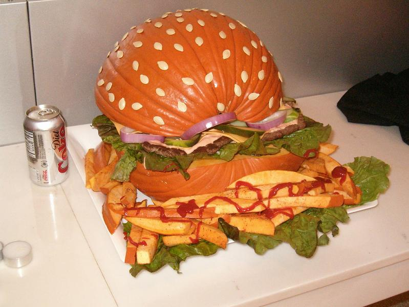 hamburger pumpkin with fries 25 Mind Blowing Halloween Pumpkins