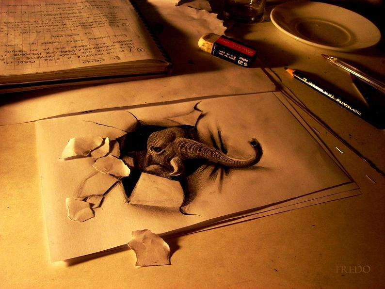 artist fredo 3d drawings illustrations art 6 Astonishing 3D Collages by Adam Neate [30 pics]