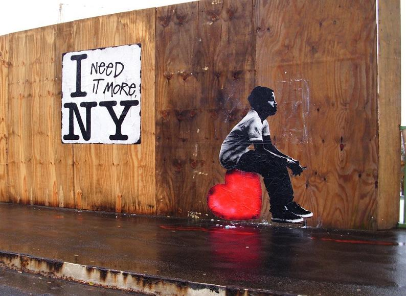 i need it more ny heart love street art stencil lets Picture of the Day: I Need Love | Nov 27, 2010