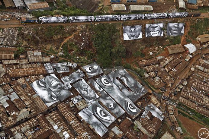 jr street art big photographs 2011 ted prize winner 5 Massive Mural by Kobra Recreates Iconic Times Square Kiss Photo