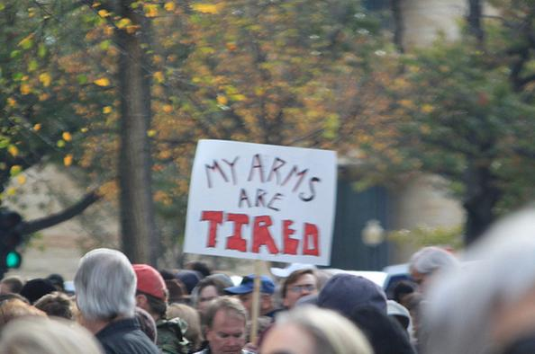 arms are tired funny protest sign 25 Funniest Protest Signs of 2010