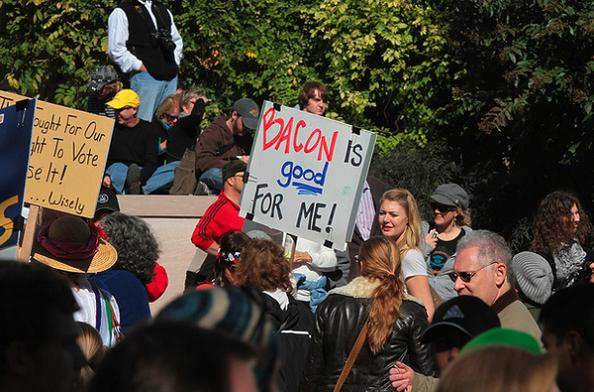 bacon is good funny protest sign 25 Funniest Protest Signs of 2010