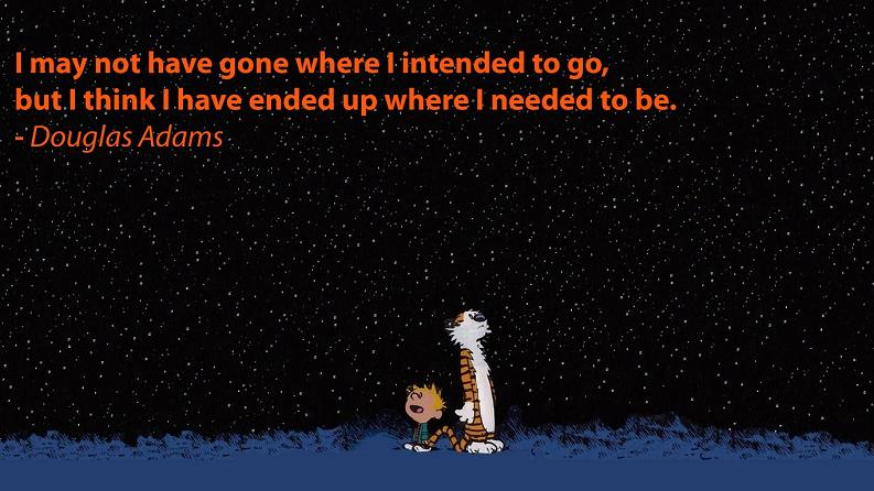 douglas adams quote calvin hobbes looking at stars Picture of the Day: Where I Needed to Be