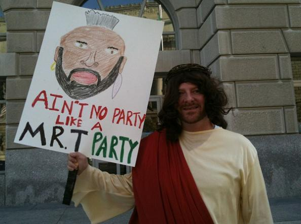 mr t party funny protest sign 25 Funniest Protest Signs of 2010