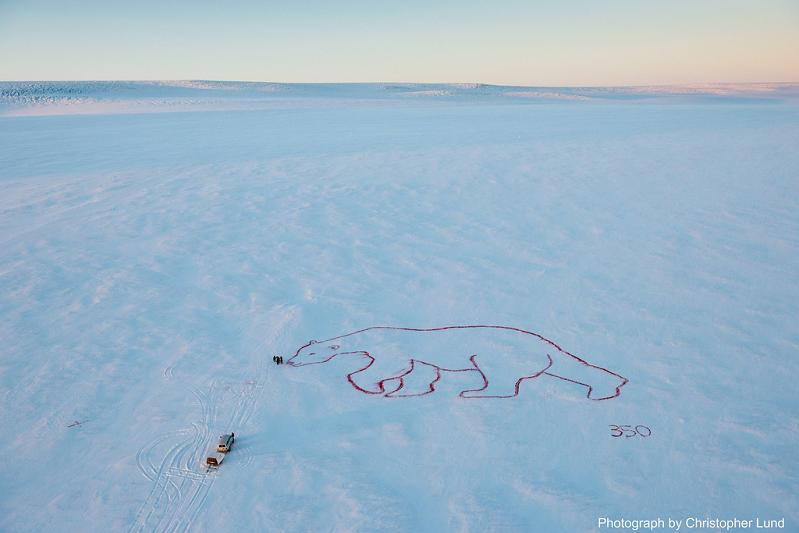 red polar bear by bjargey olafsdottir langjokull glacier iceland 2 350 Earth: Worlds First Art Exhibit Visible from Space