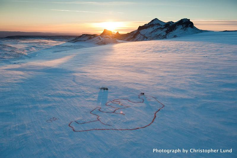 red polar bear by bjargey olafsdottir langjokull glacier iceland 350 Earth: Worlds First Art Exhibit Visible from Space