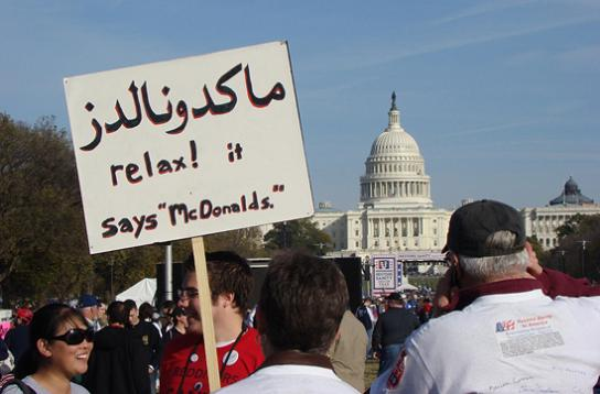 relax it says mcdonalds protest sign 25 Funniest Protest Signs of 2010