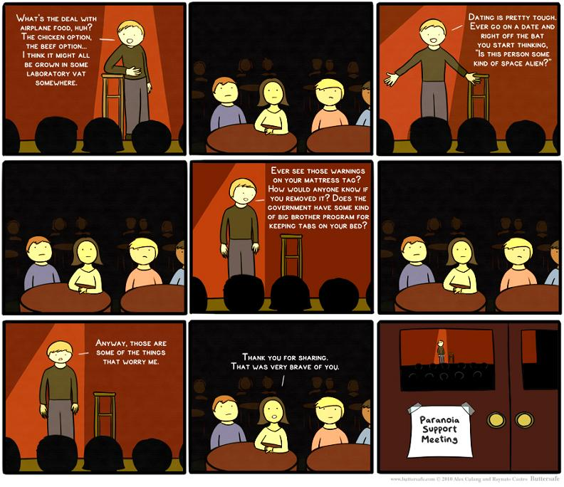 standup vs support group meeting comic buttersafe Whats the Deal With...? [Comic Strip]