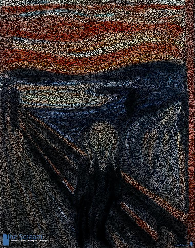 the scream munch word art The Wonderful Word Art of Juan Osborne [20 pics]