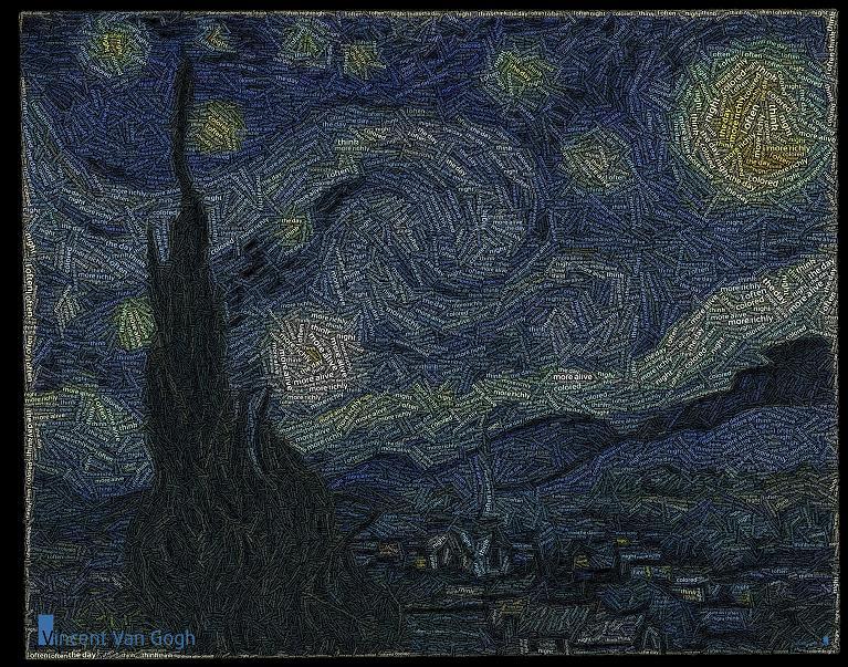 van gogh starry night word art juan osborne The Wonderful Word Art of Juan Osborne [20 pics]