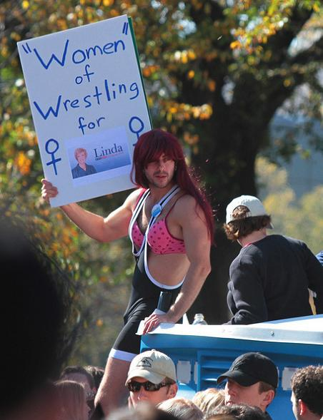 women of wrestling funny protest sign 25 Funniest Protest Signs of 2010
