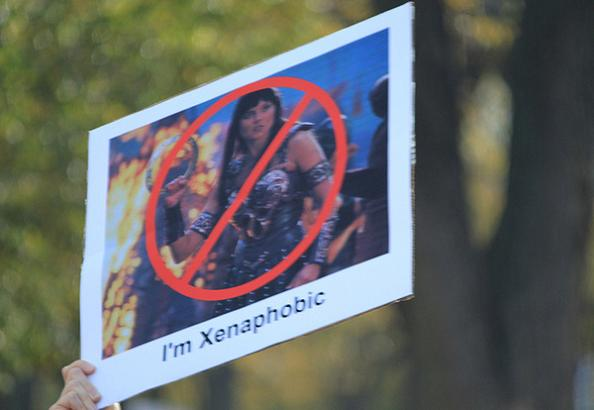 xenaphobic funny protest sign 25 Funniest Protest Signs of 2010