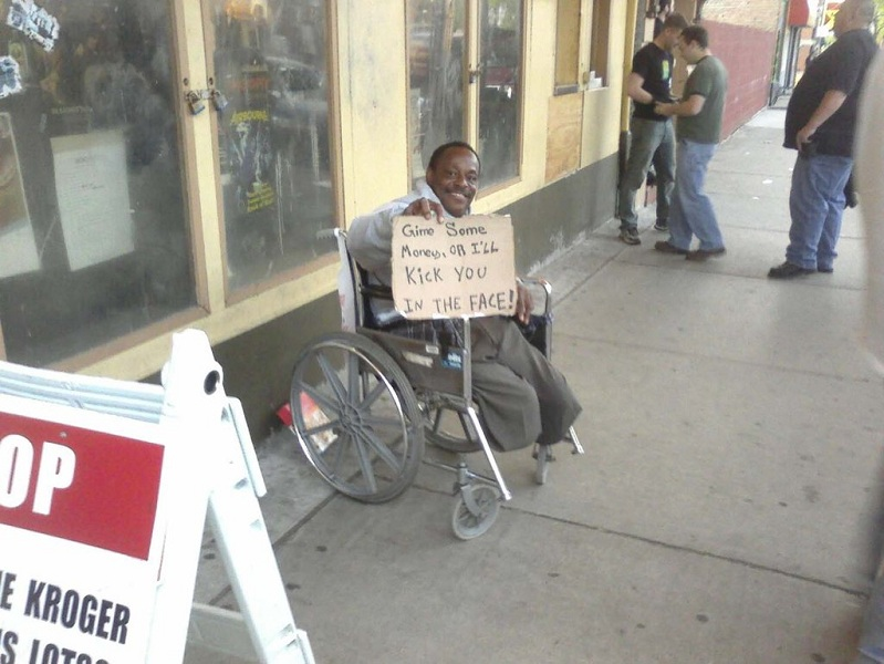 funny homeless sign kick you in the face The Friday Shirk Report   January 21, 2011 | Volume 93