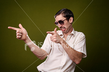 gesturing retro mustache man 1970 s style Fun With Stock Photography: Pointing [47 pics]