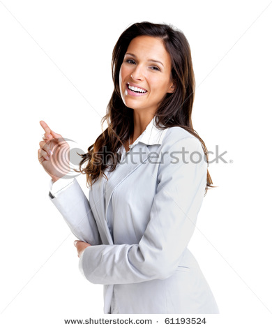 portrait of a cute young female entrepreneur pointing at copyspace against white background 61193524 Fun With Stock Photography: Pointing [47 pics]