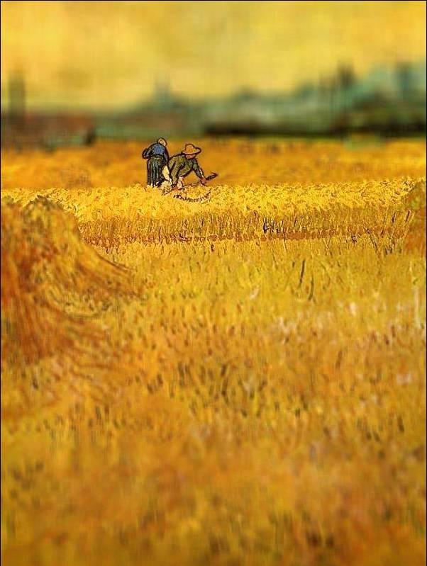 tilt shift van gogh arles view from the wheat fields painting Amazing Tilt Shift Van Gogh Paintings [16 Pics]