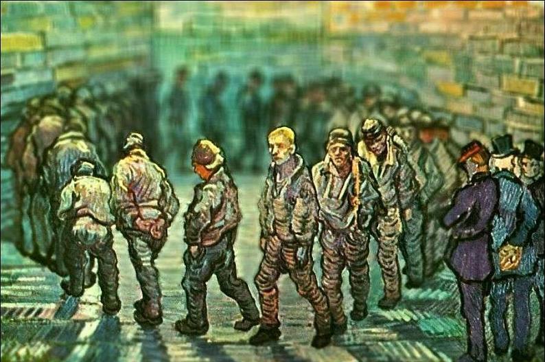 tilt shift van gogh prisoners exercising painting Amazing Tilt Shift Van Gogh Paintings [16 Pics]