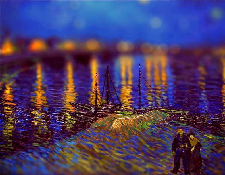tilt shift van gogh starry night over the rhone painting Amazing Tilt Shift Van Gogh Paintings [16 Pics]