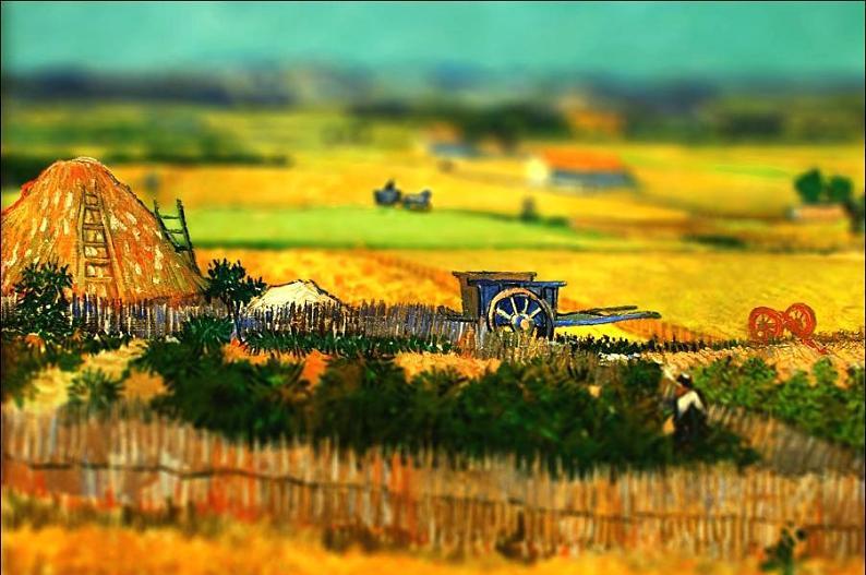tilt shift van gogh the harvest painting Amazing Tilt Shift Van Gogh Paintings [16 Pics]