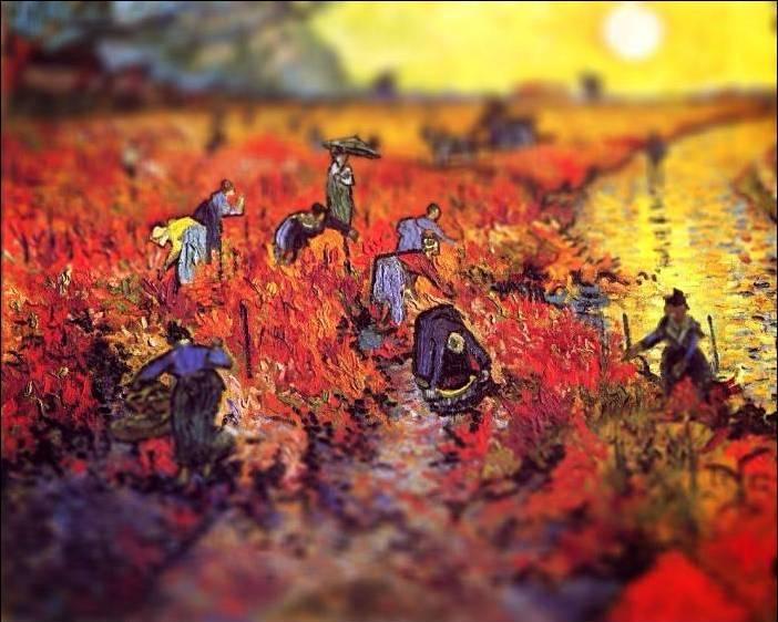 tilt shift van gogh the red vineyard painting Amazing Tilt Shift Van Gogh Paintings [16 Pics]
