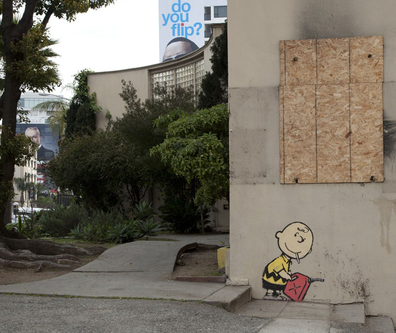 charlie brown banksy hollywood Picture of the Day: Banksy Hits Hollywood