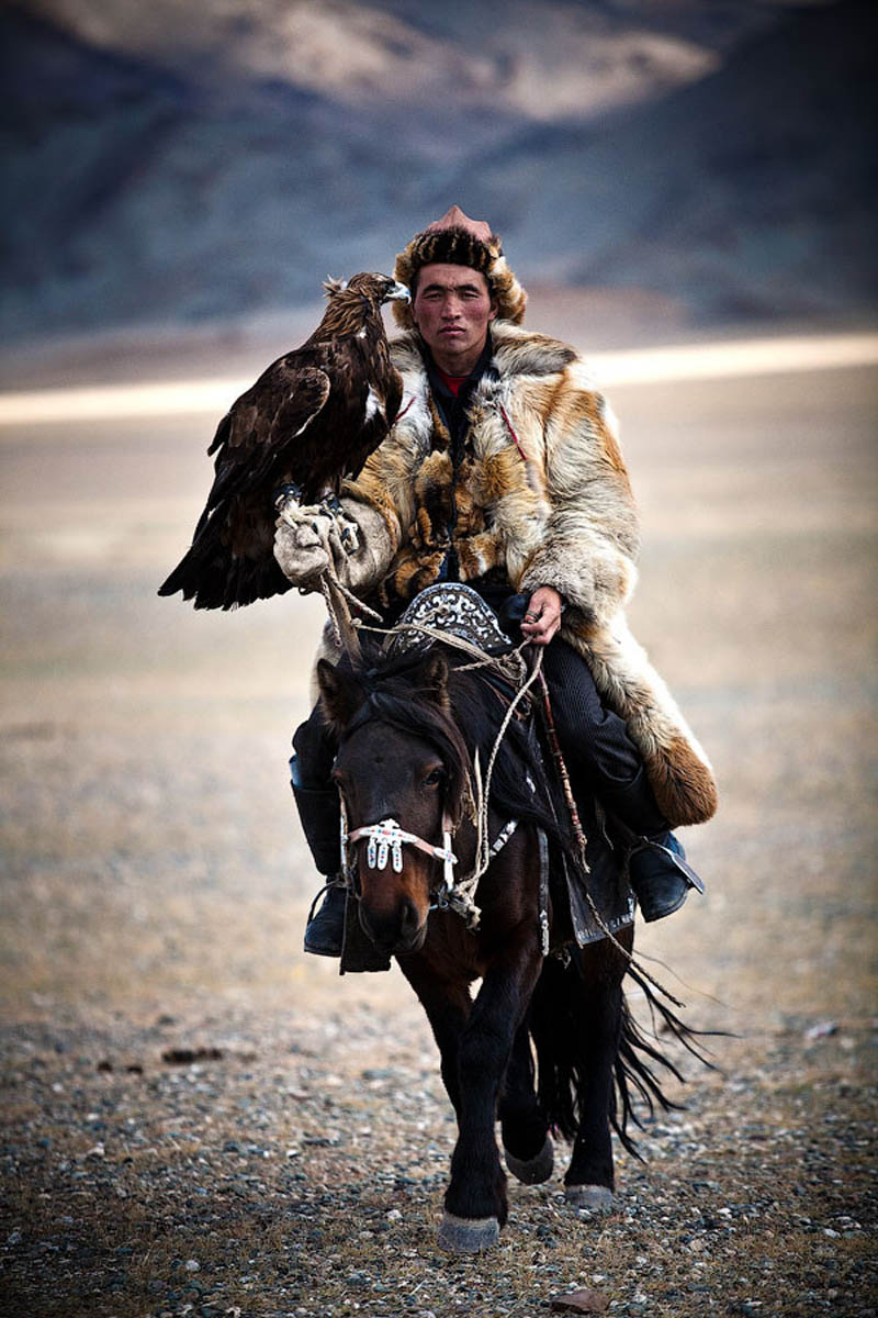 mongolian hunter with eagle riding horse The Top 50 Pictures of the Day for 2011