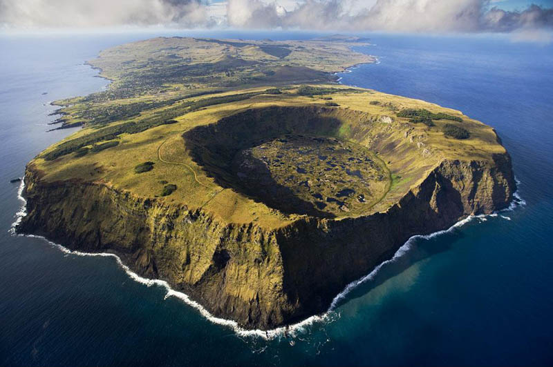 rano kau volcano in rapa nui national park easter island chile Fractal Patterns in Nature Found on Google Earth