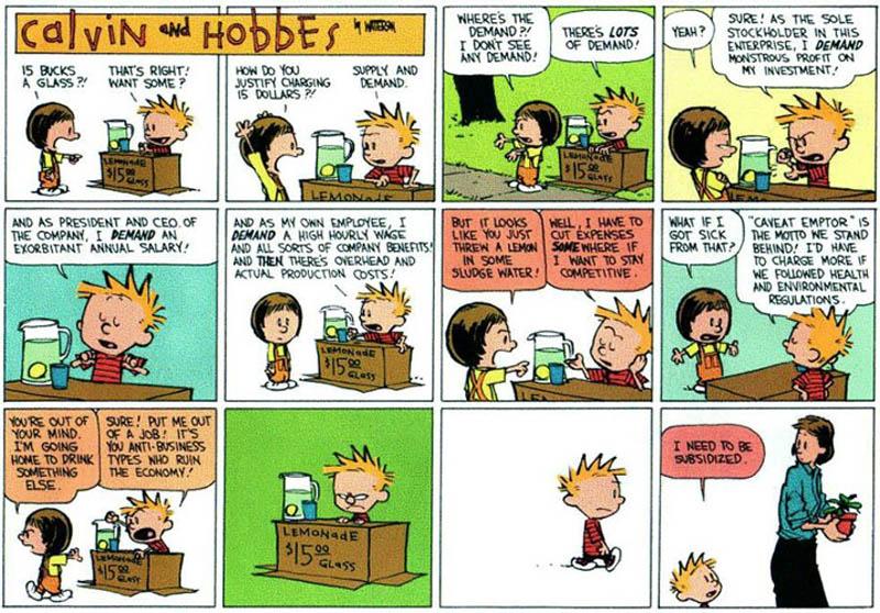 calving and hobbes lemonade stand comic american economy subsidized Subsidies [Comic Strip]