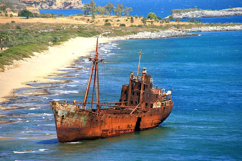 shipwreck yithio town lakonia peloponissos 25 Haunting Shipwrecks Around the World