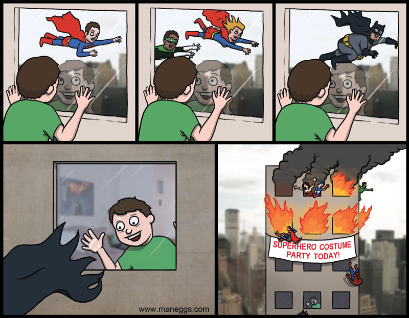 super hero costume party comic falling out window Super Heroes [Comic Strip]