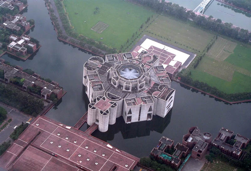 jatiyo sangsad bhaban national assembly parliament building aerial bangladesh 20 Impressive Moats Around the World