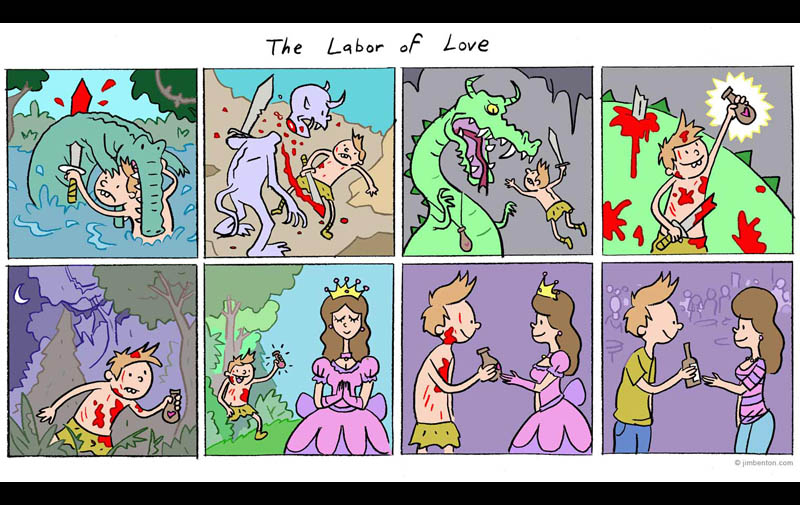labor of love jim benton comic fighting for drink at bar The Labor of Love [Comic Strip]