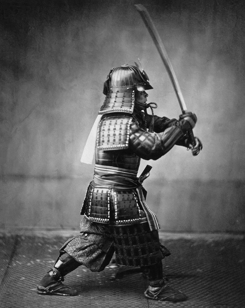 armoured japanese samurai with sword 1860 Picture of the Day: Armoured Samurai Warrior Circa 1860