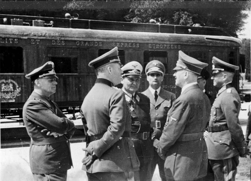 hermann goring rudolf hess adolf hitler joachim von ribbentrop and walther von brauchitsch in front of the armistice wagon This Day In History   June 22nd