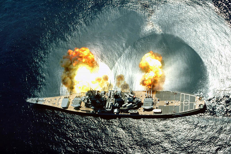 warship battleship firing shooting Picture of the Day: KA BOOM!