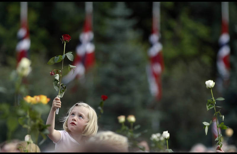 girl holding rose flower norway attack 2011 Picture of the Day: United We Stand