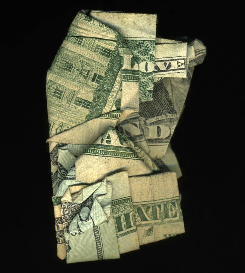 money currency art dan tague love and hate Money Talks: Amazing Dollar Bill Art of Dan Tague [21 pics]