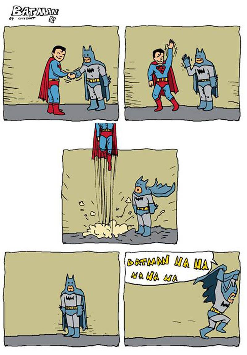 superman batman fly away funny comic nanana Batman and Superman [Comic Strip]