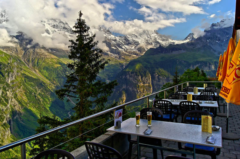 beer with a view murren switzerland Picture of the Day: Great Place to Have a Drink